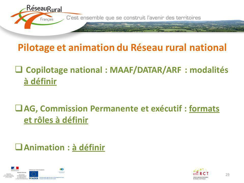 29 Pilotage et animation du Réseau rural national Copilotage national : MAAF/DATAR/ARF : modalités à définir AG, Commission Permanente et exécutif : f