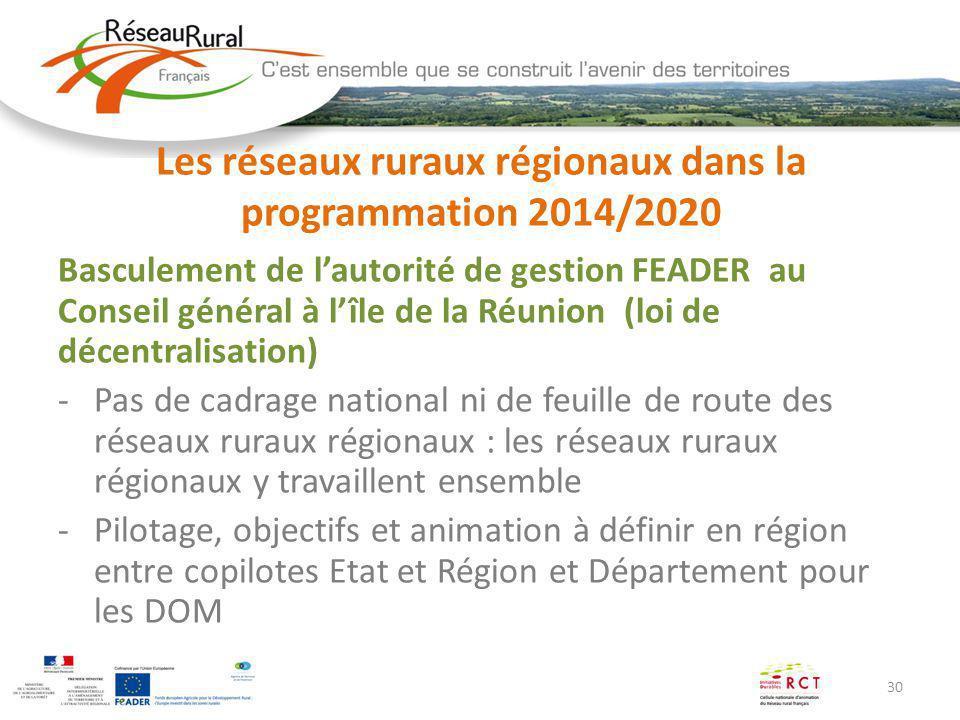 30 Les réseaux ruraux régionaux dans la programmation 2014/2020 Basculement de lautorité de gestion FEADER au Conseil général à lîle de la Réunion (lo