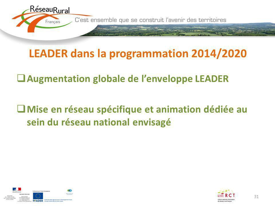 31 LEADER dans la programmation 2014/2020 Augmentation globale de lenveloppe LEADER Mise en réseau spécifique et animation dédiée au sein du réseau na