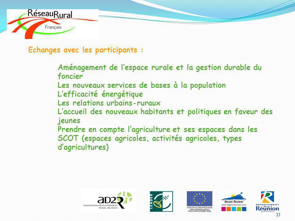 Echanges avec les participants : Aménagement de lespace rurale et la gestion durable du foncier Les nouveaux services de bases à la population Leffica