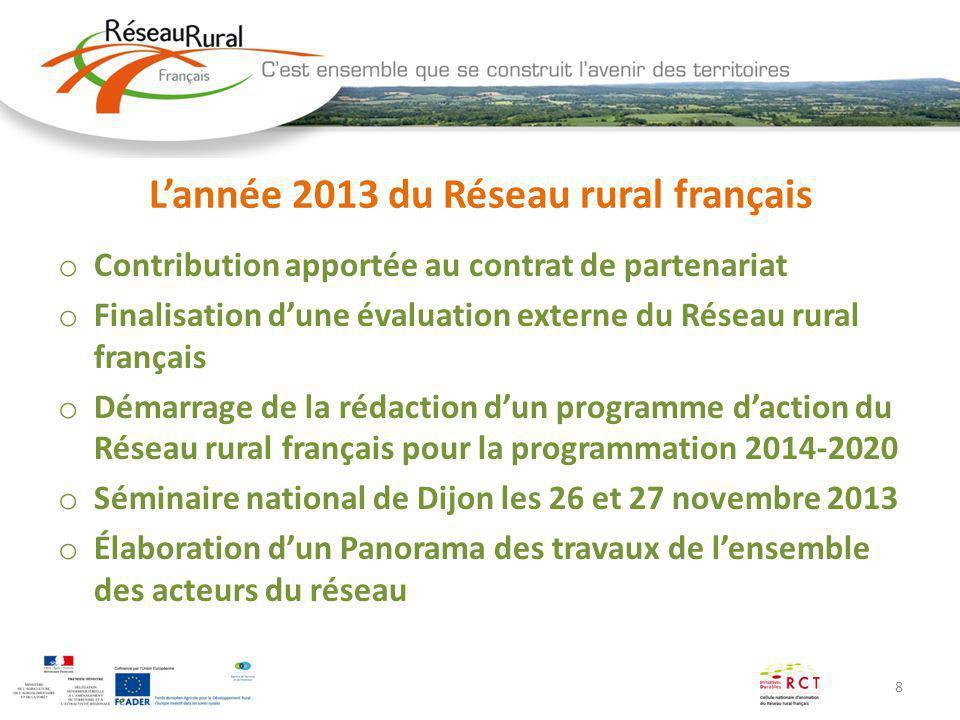 8 Lannée 2013 du Réseau rural français o Contribution apportée au contrat de partenariat o Finalisation dune évaluation externe du Réseau rural frança