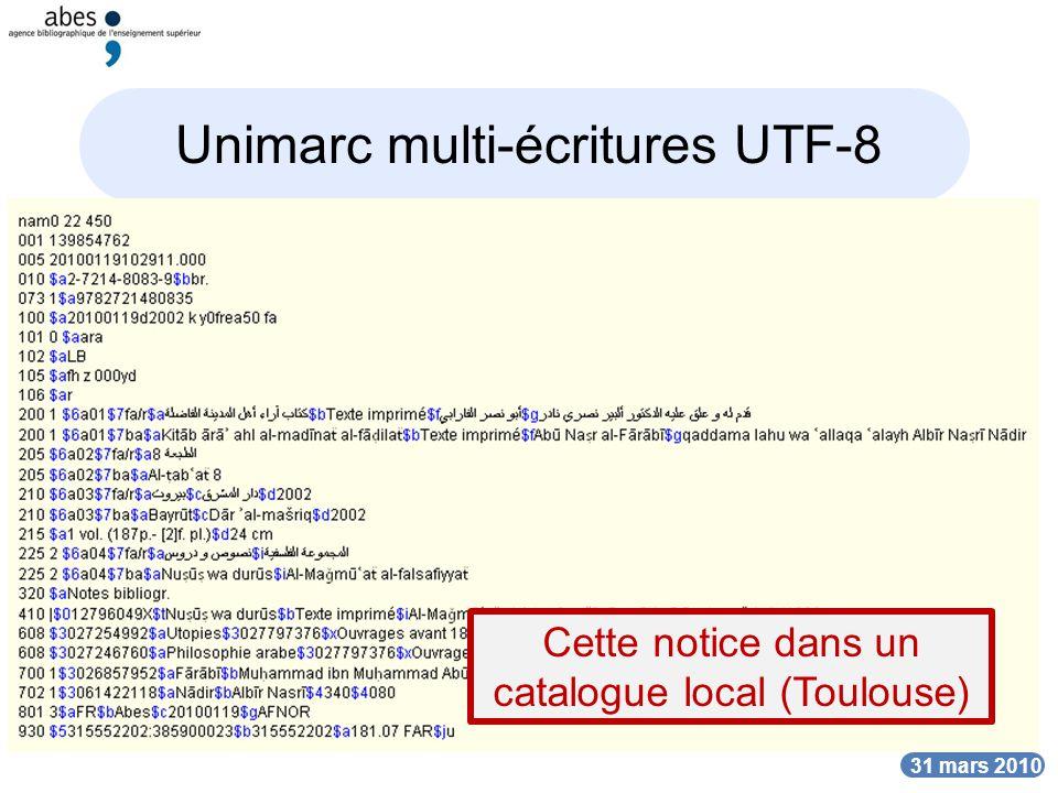 DATE 31 mars 2010 Unimarc multi-écritures UTF-8 Cette notice dans un catalogue local (Toulouse)