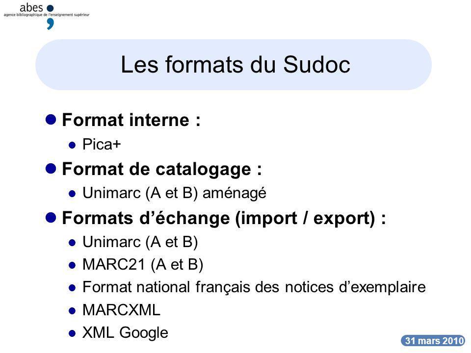 DATE Les formats du Sudoc Format interne : Pica+ Format de catalogage : Unimarc (A et B) aménagé Formats déchange (import / export) : Unimarc (A et B) MARC21 (A et B) Format national français des notices dexemplaire MARCXML XML Google DATE 31 mars 2010