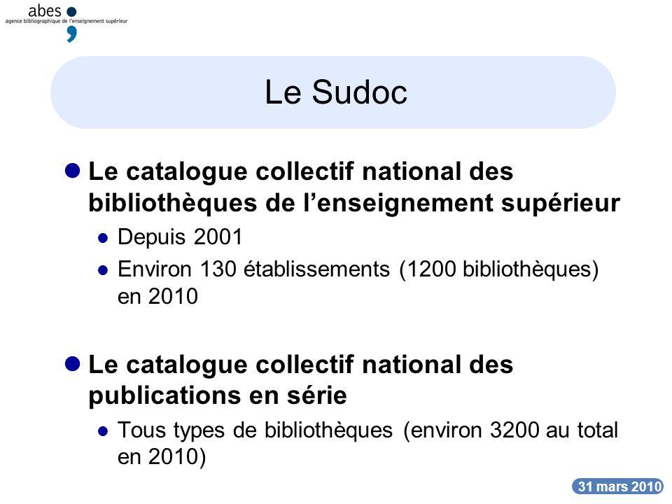DATE Le Sudoc Le catalogue collectif national des bibliothèques de lenseignement supérieur Depuis 2001 Environ 130 établissements (1200 bibliothèques)