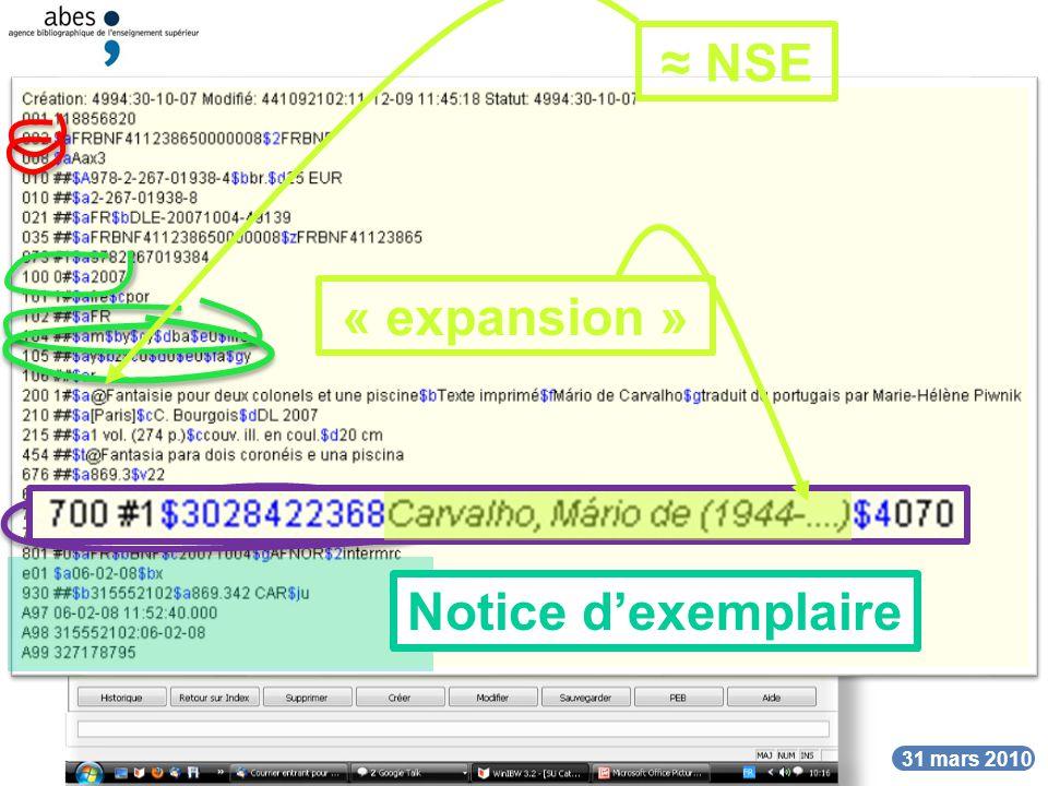 DATE 31 mars 2010 Unimarc bibliographique déchange Cette notice dans un catalogue local (Toulouse)