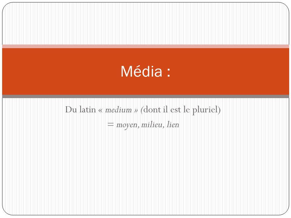 Du latin « medium » (dont il est le pluriel) = moyen, milieu, lien Média :