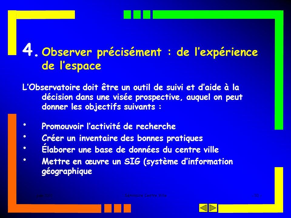 juin 2005Séminaire Centre Ville- 10 - 4. Observer précisément : de lexpérience de lespace LObservatoire doit être un outil de suivi et daide à la déci