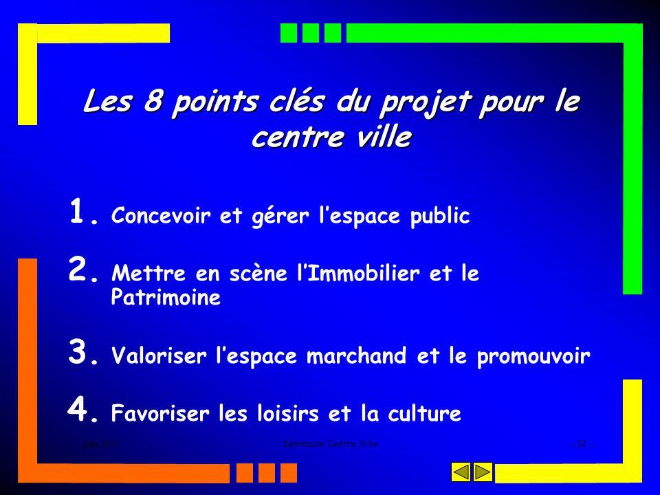 juin 2005Séminaire Centre Ville- 12 - Les 8 points clés du projet pour le centre ville 1. Concevoir et gérer lespace public 2. Mettre en scène lImmobi