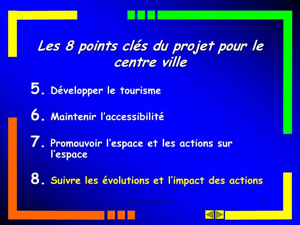 juin 2005Séminaire Centre Ville- 13 - Les 8 points clés du projet pour le centre ville 5. Développer le tourisme 6. Maintenir laccessibilité 7. Promou