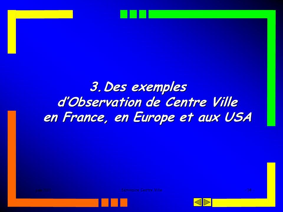 juin 2005Séminaire Centre Ville- 14 - 3.Des exemples dObservation de Centre Ville en France, en Europe et aux USA