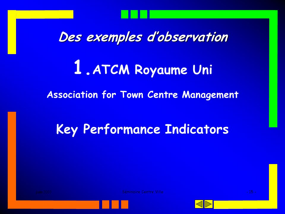 juin 2005Séminaire Centre Ville- 15 - Des exemples dobservation 1. ATCM Royaume Uni Association for Town Centre Management Key Performance Indicators
