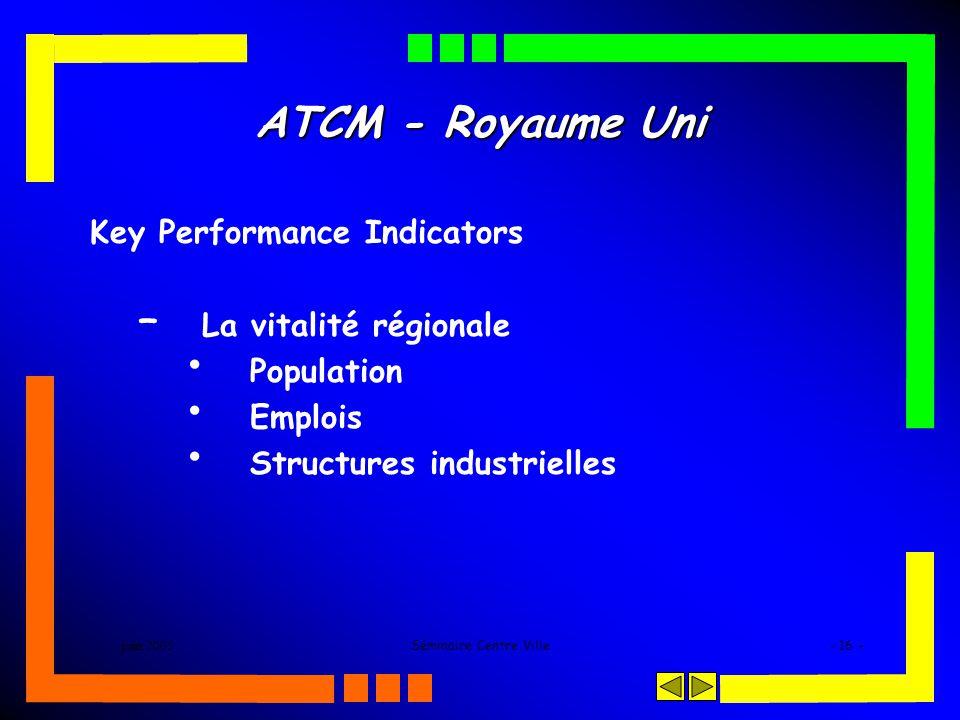 juin 2005Séminaire Centre Ville- 16 - ATCM - Royaume Uni Key Performance Indicators – La vitalité régionale Population Emplois Structures industrielle