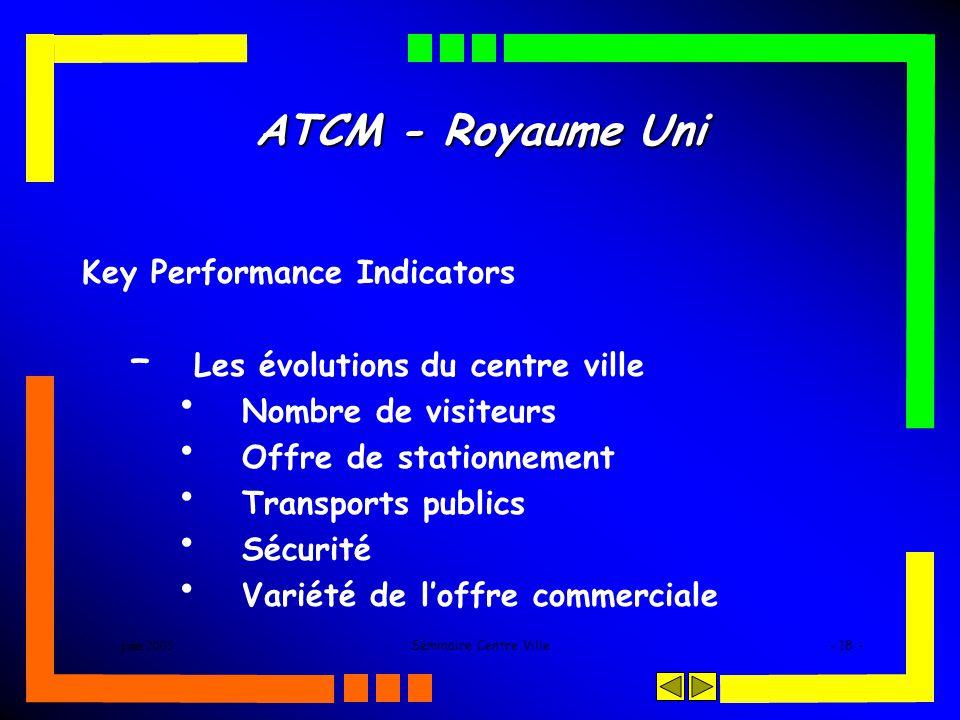 juin 2005Séminaire Centre Ville- 18 - ATCM - Royaume Uni Key Performance Indicators – Les évolutions du centre ville Nombre de visiteurs Offre de stationnement Transports publics Sécurité Variété de loffre commerciale