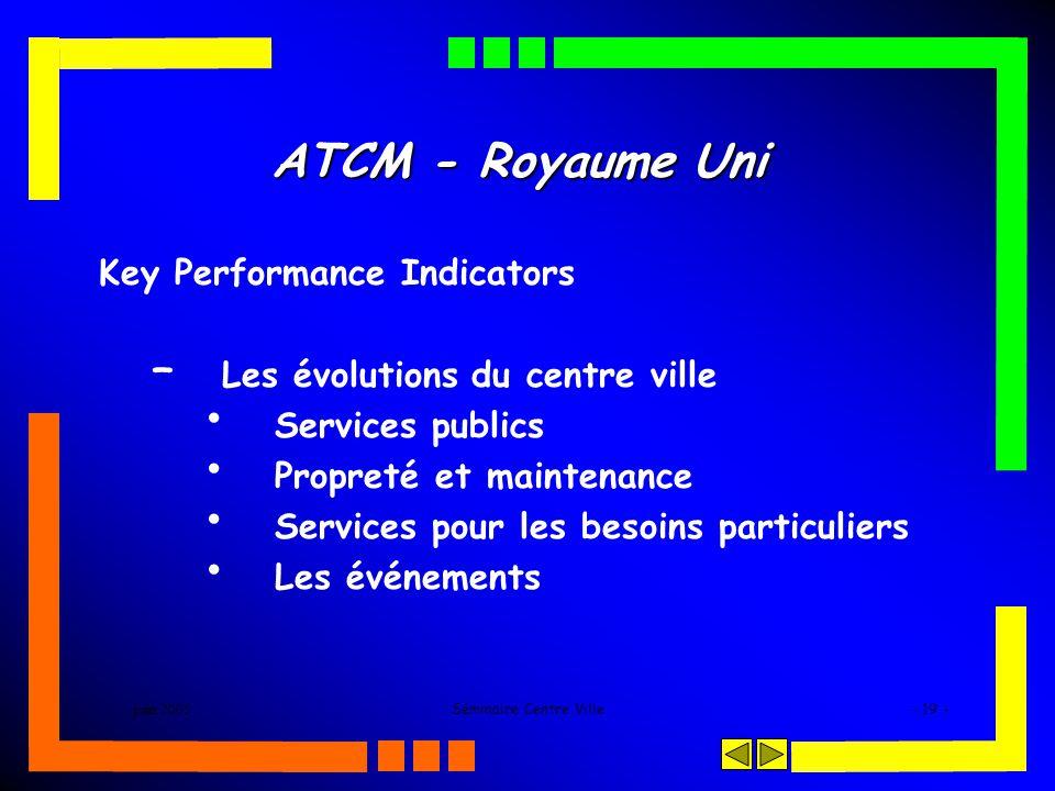 juin 2005Séminaire Centre Ville- 19 - ATCM - Royaume Uni Key Performance Indicators – Les évolutions du centre ville Services publics Propreté et maintenance Services pour les besoins particuliers Les événements
