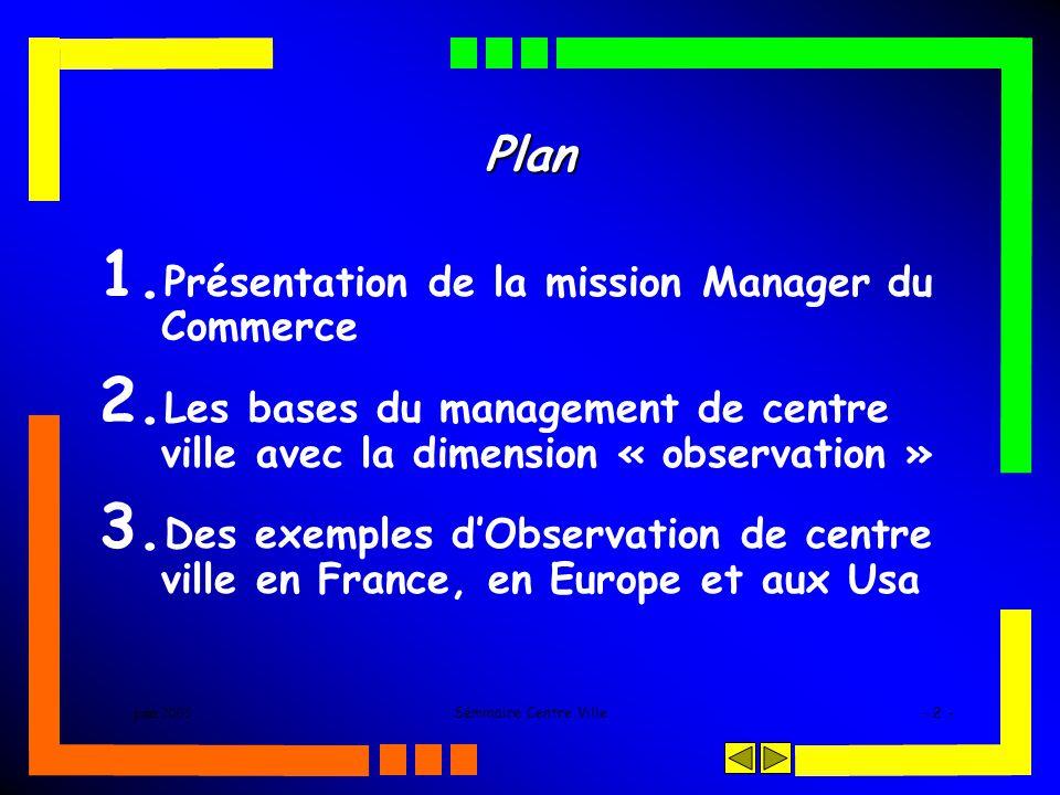 juin 2005Séminaire Centre Ville- 2 - Plan 1. Présentation de la mission Manager du Commerce 2. Les bases du management de centre ville avec la dimensi