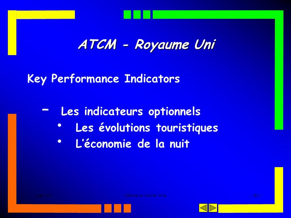 juin 2005Séminaire Centre Ville- 20 - ATCM - Royaume Uni Key Performance Indicators – Les indicateurs optionnels Les évolutions touristiques Léconomie