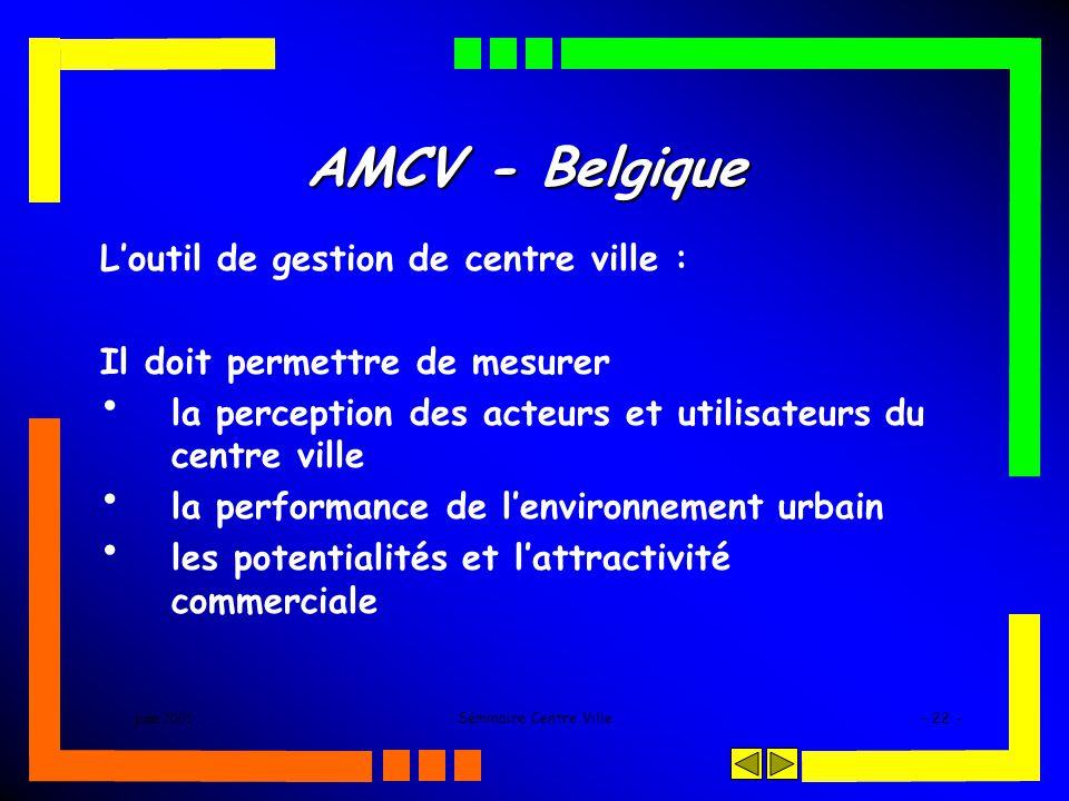 juin 2005Séminaire Centre Ville- 22 - AMCV - Belgique Loutil de gestion de centre ville : Il doit permettre de mesurer la perception des acteurs et utilisateurs du centre ville la performance de lenvironnement urbain les potentialités et lattractivité commerciale