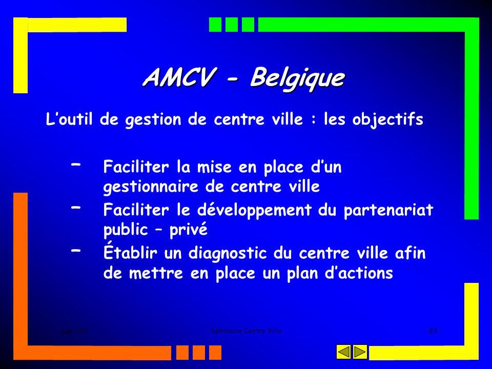 juin 2005Séminaire Centre Ville- 23 - AMCV - Belgique Loutil de gestion de centre ville : les objectifs – Faciliter la mise en place dun gestionnaire de centre ville – Faciliter le développement du partenariat public – privé – Établir un diagnostic du centre ville afin de mettre en place un plan dactions