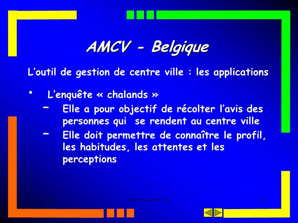 juin 2005Séminaire Centre Ville- 27 - AMCV - Belgique Loutil de gestion de centre ville : les applications Lenquête « chalands » – Elle a pour objectif de récolter lavis des personnes qui se rendent au centre ville – Elle doit permettre de connaître le profil, les habitudes, les attentes et les perceptions