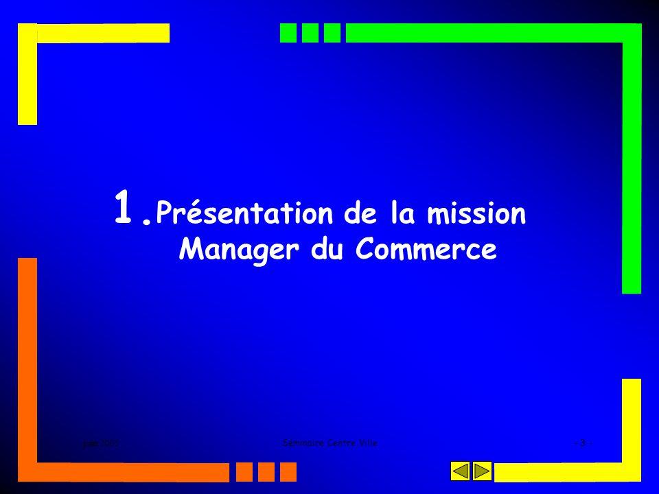 juin 2005Séminaire Centre Ville- 3 - 1. Présentation de la mission Manager du Commerce