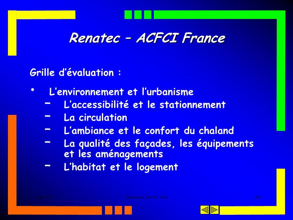 juin 2005Séminaire Centre Ville- 33 - Renatec – ACFCI France Grille dévaluation : Lenvironnement et lurbanisme – Laccessibilité et le stationnement –