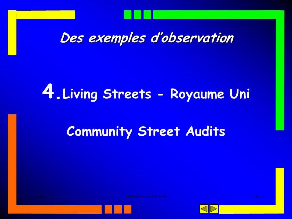 juin 2005Séminaire Centre Ville- 36 - Des exemples dobservation 4. Living Streets - Royaume Uni Community Street Audits