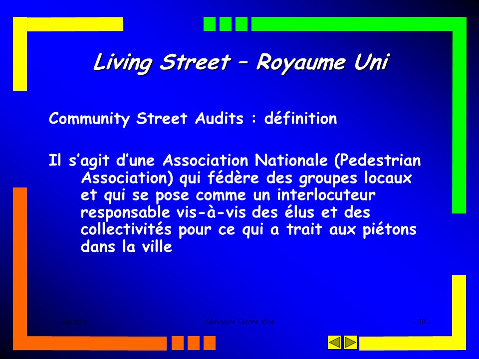 juin 2005Séminaire Centre Ville- 38 - Living Street – Royaume Uni Community Street Audits : définition Il sagit dune Association Nationale (Pedestrian