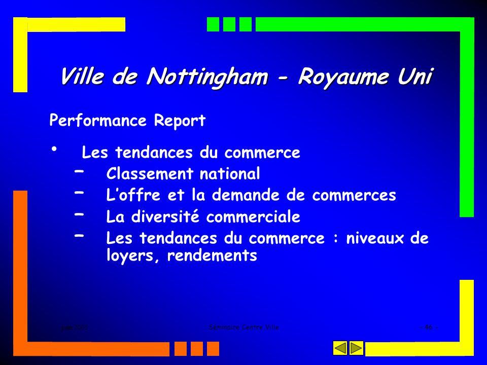 juin 2005Séminaire Centre Ville- 46 - Ville de Nottingham - Royaume Uni Performance Report Les tendances du commerce – Classement national – Loffre et