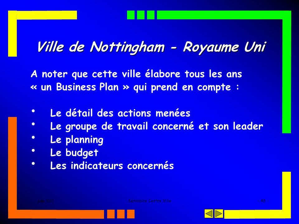 juin 2005Séminaire Centre Ville- 48 - Ville de Nottingham - Royaume Uni A noter que cette ville élabore tous les ans « un Business Plan » qui prend en