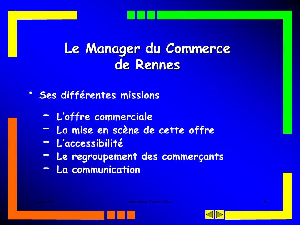 juin 2005Séminaire Centre Ville- 5 - Le Manager du Commerce de Rennes Ses différentes missions – Loffre commerciale – La mise en scène de cette offre