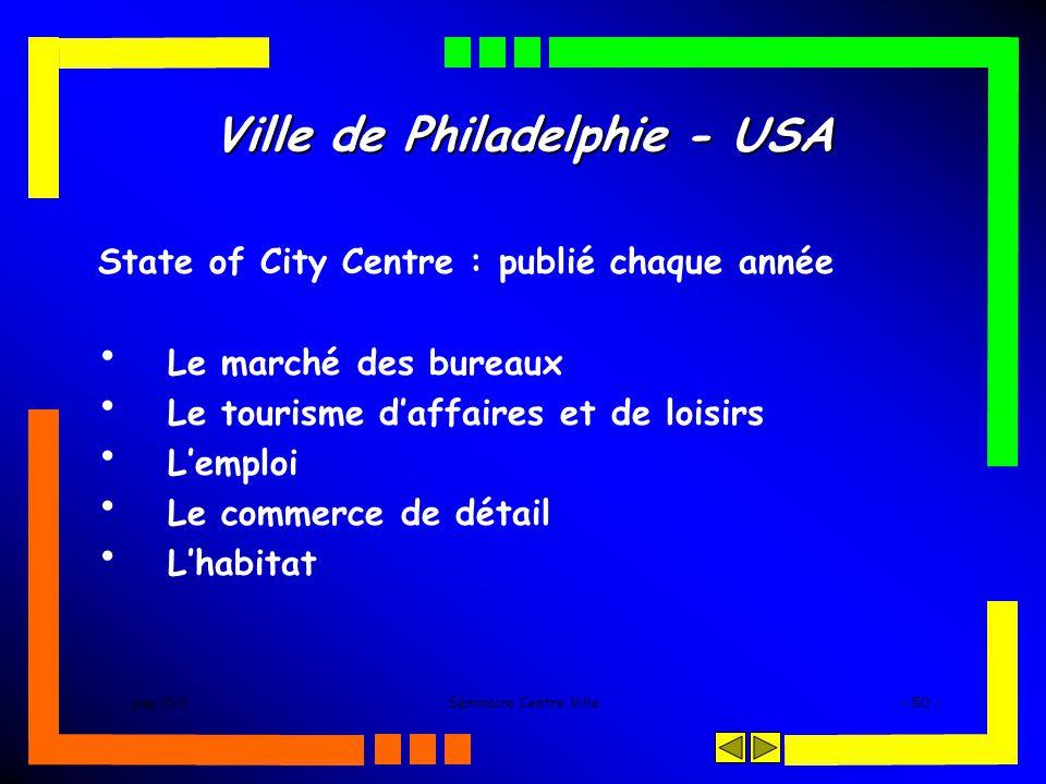 juin 2005Séminaire Centre Ville- 50 - Ville de Philadelphie - USA State of City Centre : publié chaque année Le marché des bureaux Le tourisme daffaires et de loisirs Lemploi Le commerce de détail Lhabitat