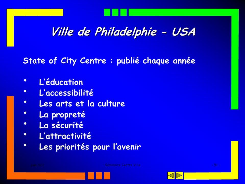 juin 2005Séminaire Centre Ville- 51 - Ville de Philadelphie - USA State of City Centre : publié chaque année Léducation Laccessibilité Les arts et la culture La propreté La sécurité Lattractivité Les priorités pour lavenir