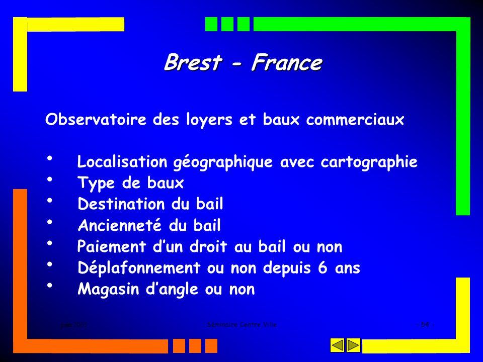 juin 2005Séminaire Centre Ville- 54 - Brest - France Observatoire des loyers et baux commerciaux Localisation géographique avec cartographie Type de b