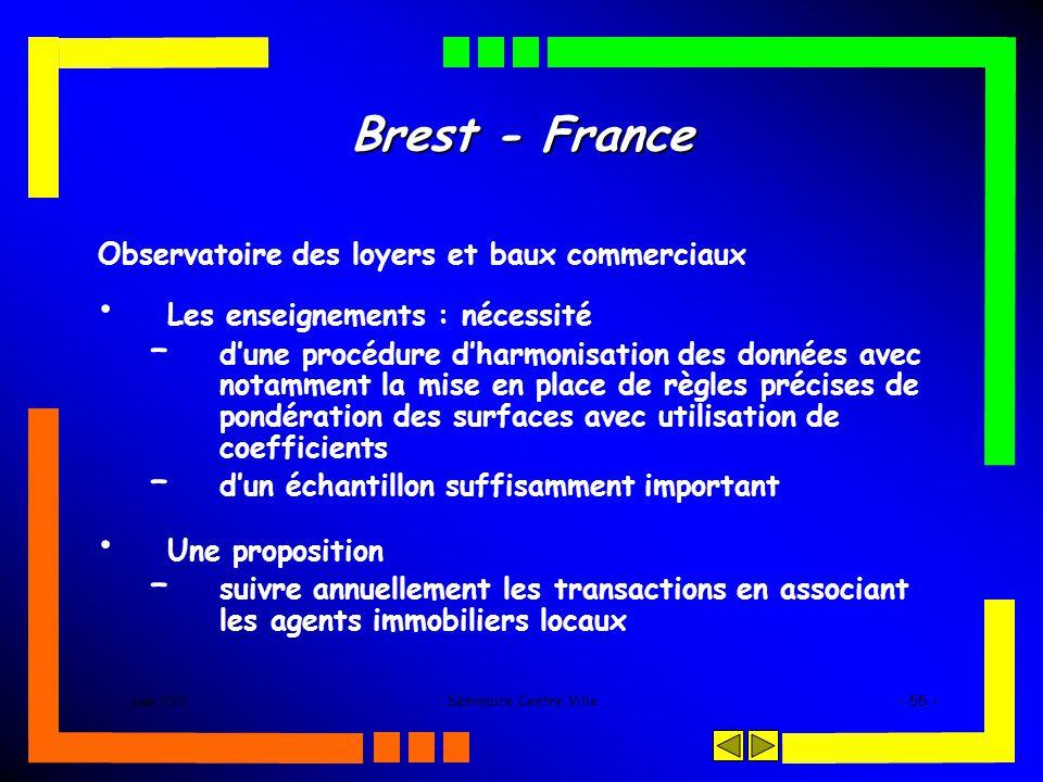 juin 2005Séminaire Centre Ville- 55 - Brest - France Observatoire des loyers et baux commerciaux Les enseignements : nécessité – dune procédure dharmo