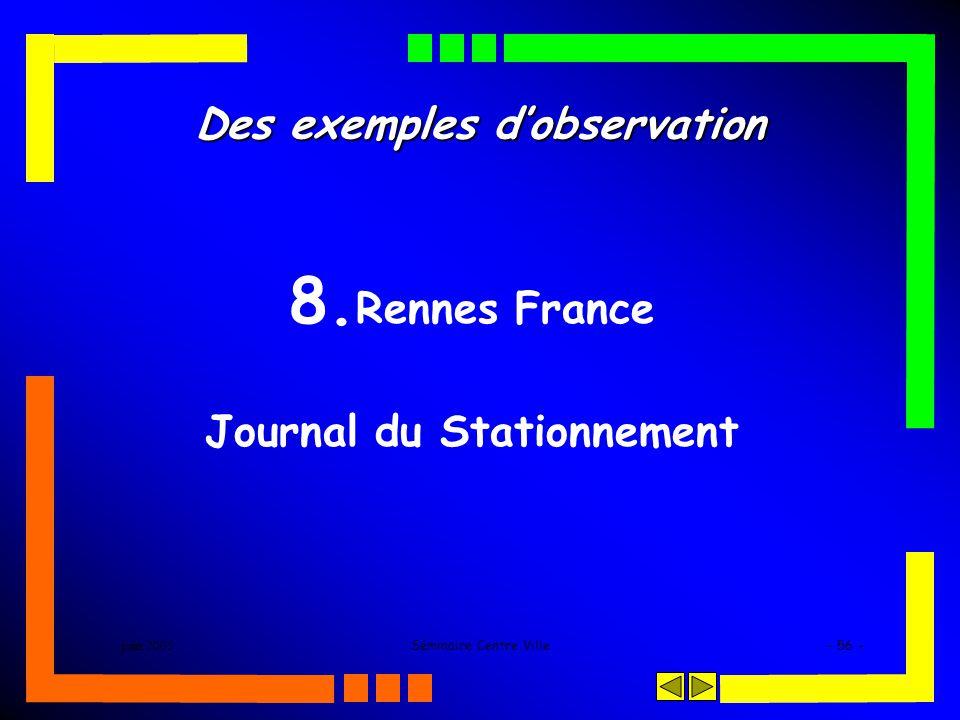 juin 2005Séminaire Centre Ville- 56 - Des exemples dobservation 8. Rennes France Journal du Stationnement
