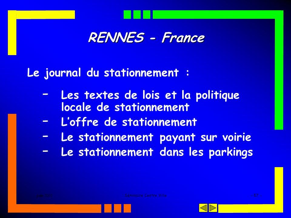 juin 2005Séminaire Centre Ville- 57 - RENNES - France Le journal du stationnement : - Les textes de lois et la politique locale de stationnement - Lof