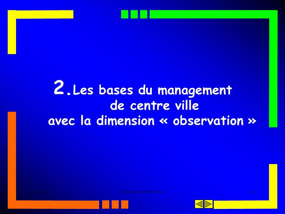 juin 2005Séminaire Centre Ville- 6 - 2. Les bases du management de centre ville avec la dimension « observation »