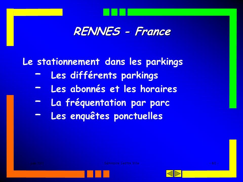 juin 2005Séminaire Centre Ville- 60 - RENNES - France Le stationnement dans les parkings – Les différents parkings – Les abonnés et les horaires – La fréquentation par parc – Les enquêtes ponctuelles