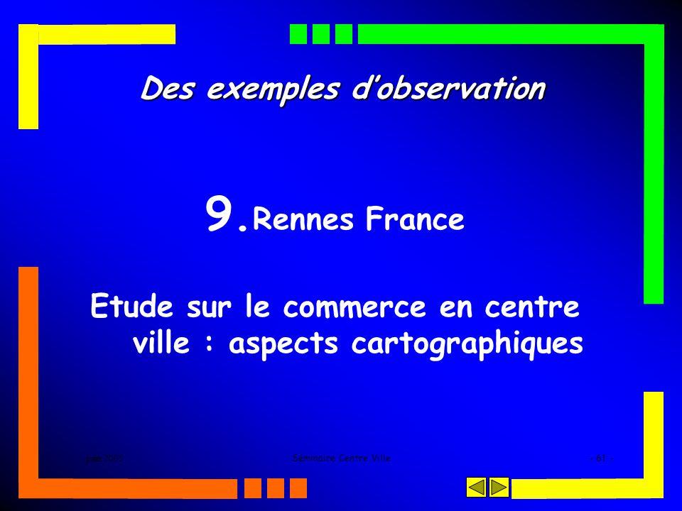 juin 2005Séminaire Centre Ville- 61 - Des exemples dobservation 9. Rennes France Etude sur le commerce en centre ville : aspects cartographiques