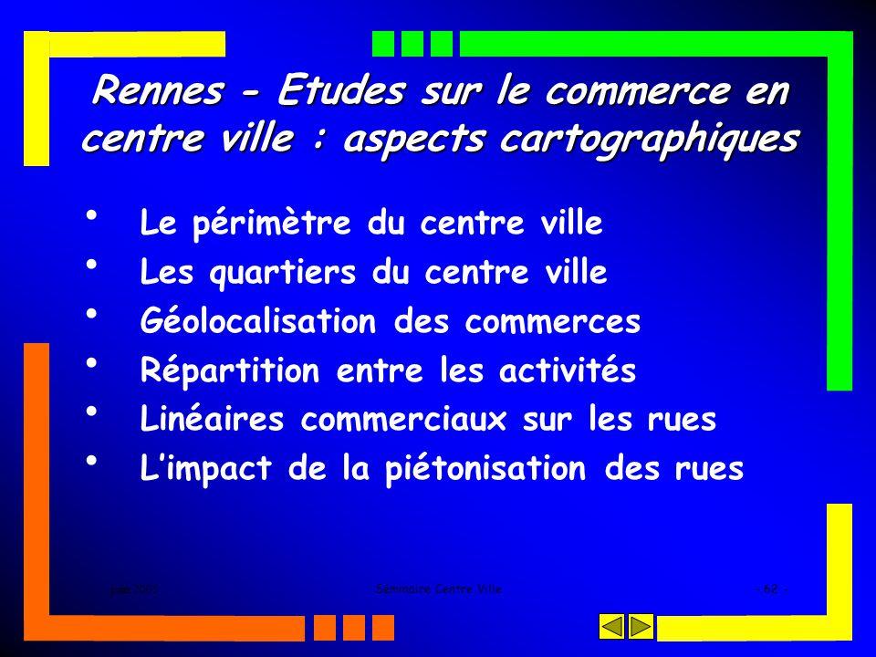 juin 2005Séminaire Centre Ville- 62 - Rennes - Etudes sur le commerce en centre ville : aspects cartographiques Le périmètre du centre ville Les quartiers du centre ville Géolocalisation des commerces Répartition entre les activités Linéaires commerciaux sur les rues Limpact de la piétonisation des rues
