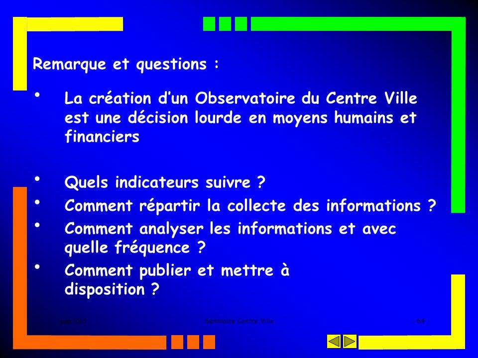 juin 2005Séminaire Centre Ville- 64 - Remarque et questions : La création dun Observatoire du Centre Ville est une décision lourde en moyens humains e