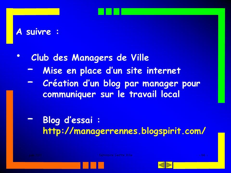 juin 2005Séminaire Centre Ville- 66 - A suivre : Club des Managers de Ville – Mise en place dun site internet – Création dun blog par manager pour com
