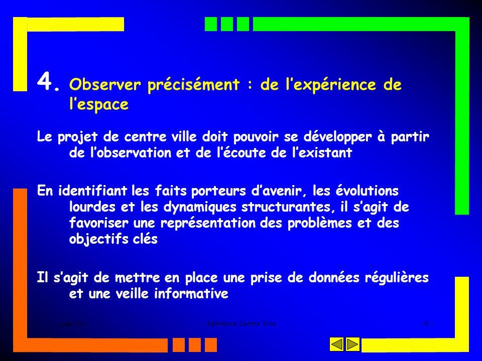 juin 2005Séminaire Centre Ville- 9 - 4. Observer précisément : de lexpérience de lespace Le projet de centre ville doit pouvoir se développer à partir