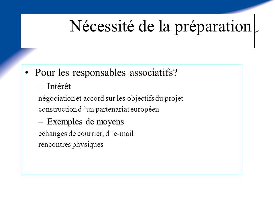 Nécessité de la préparation Pour les responsables associatifs.