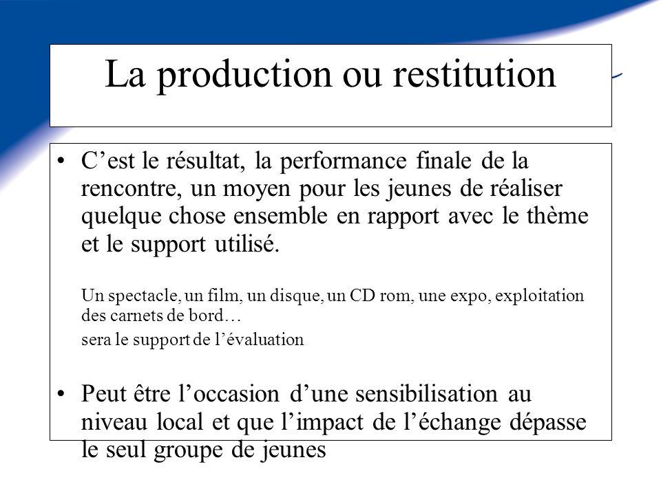 La production ou restitution Cest le résultat, la performance finale de la rencontre, un moyen pour les jeunes de réaliser quelque chose ensemble en rapport avec le thème et le support utilisé.