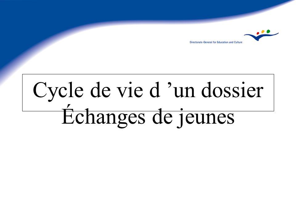 Cycle de vie d un dossier Échanges de jeunes