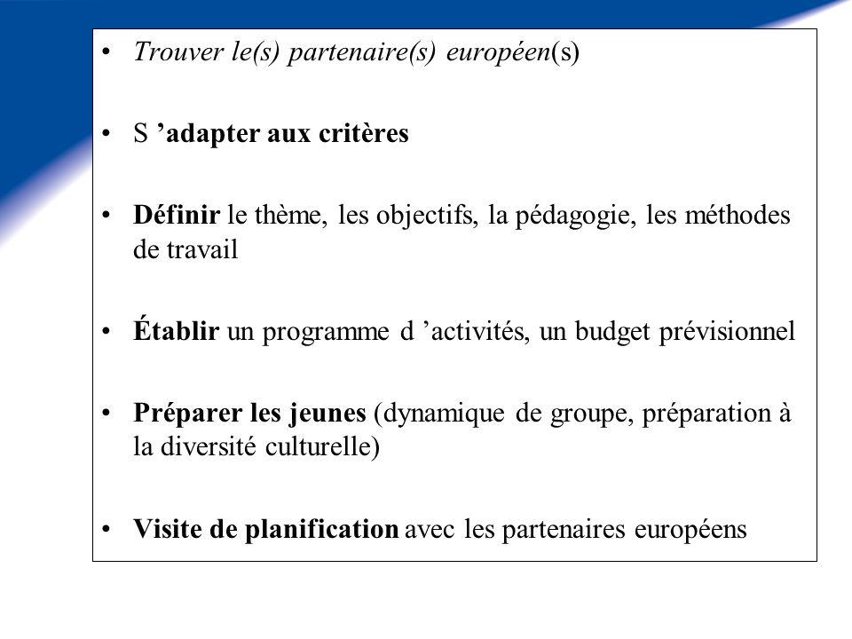 Trouver le(s) partenaire(s) européen(s) S adapter aux critères Définir le thème, les objectifs, la pédagogie, les méthodes de travail Établir un programme d activités, un budget prévisionnel Préparer les jeunes (dynamique de groupe, préparation à la diversité culturelle) Visite de planification avec les partenaires européens