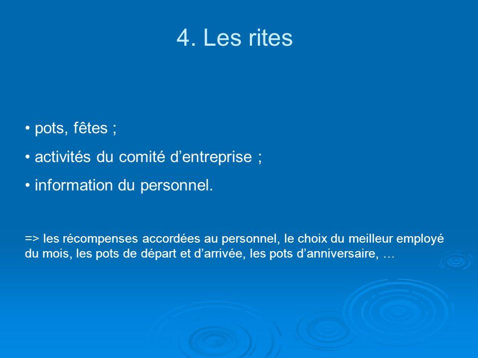 4.Les rites pots, fêtes ; activités du comité dentreprise ; information du personnel.