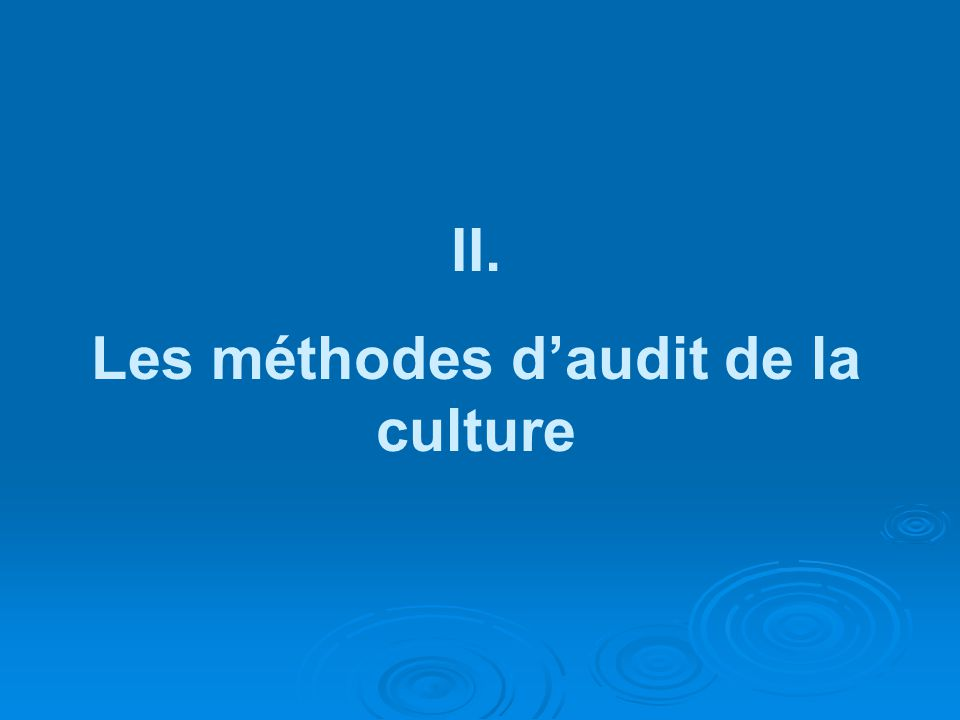 II. Les méthodes daudit de la culture