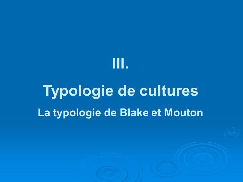III. Typologie de cultures La typologie de Blake et Mouton